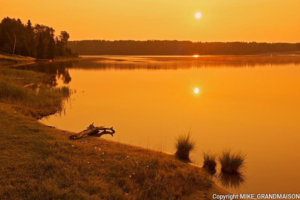 Lac Seul (English River) at sunrise<br />Ear Falls<br />Ontario<br />Canada