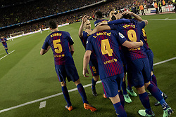 May 6, 2018 - Barcelona, Catalonia, Spain - Barcelona's players cellebrating the Leo MEssi's score during the spanish football league La Liga match between FC Barcelona and Real Madrid at the Camp Nou Stadium in Barcelona, Catalonia, Spain on May 6, 2018  (Credit Image: © Miquel Llop/NurPhoto via ZUMA Press)