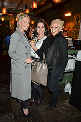 Left to right, OLIVIA BUCKINGHAM, CLAIRE BLACKSHAW and AMANDA ELIASCH at The Ivy Kensington Brasserie International Women's Day & Terrace Launch Party held at The Ivy Kensington Brasserie, 96 Kensington High Street, London on 8th March 2016.