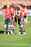 GOAL   Nicky Law (7) of Exeter City and Archie Collins (10) of Exeter City  celebrates a goal  during the EFL Sky Bet League 2 match between Exeter City and Stevenage at St James' Park, Exeter, England on 23 January 2021.