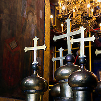 Europe, Russia, Suzdal. Crosses in the Cathedral of the Nativity Suzdal