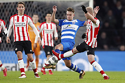(L-R) Luuk de Jong of PSV, Wouter Marinus of PEC Zwolle, Jorrit Hendrix of PSV during the Dutch Eredivisie match between PSV Eindhoven and PEC Zwolle at the Phillips stadium on February 03, 2018 in Eindhoven, The Netherlands