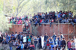October 14, 2017 - Shopian, Jammu and Kashmir, India - Thousands attend funeral of a Waseem Ah Shahi at Heff Shopian, 75 Km from Srinagar. Shah was killed along with Associate in a gunfight with forces in Litter Pulwama. One civilian also killed when they protesting near the encounter site. (Credit Image: © Muneeb Ul Islam/Pacific Press via ZUMA Wire)