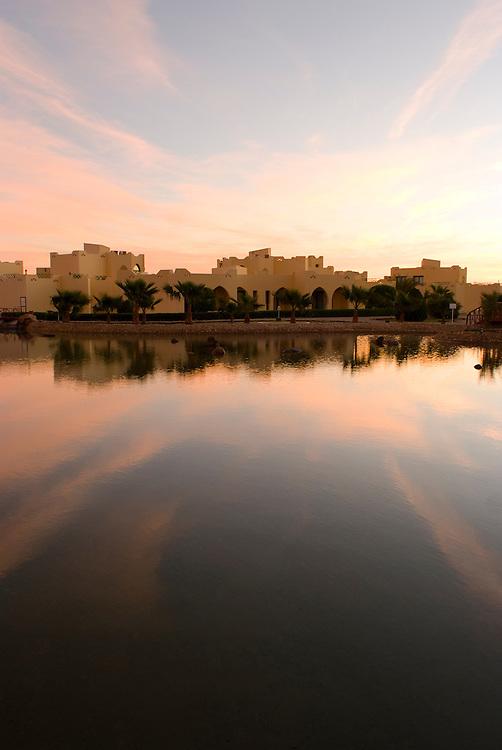 Sunrise over Lagoon Rooms in TIA Heights Resort,  Makadi Bay, Egypt