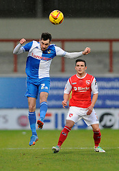 Bristol Rovers' Michael Smith heads the ball - Photo mandatory by-line: Dougie Allward/JMP - Tel: Mobile: 07966 386802 14/12/2013 - SPORT - Football - Morecombe - Globe Arena - Morecombe v Bristol Rovers - Sky Bet League Two