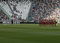 August 19, 2017 - Turin, Italy - Cagliari team and Juventus team during Serie A match between Juventus v Cagliari, in Turin, on August 19, 2017  (Credit Image: © Loris Roselli/NurPhoto via ZUMA Press)