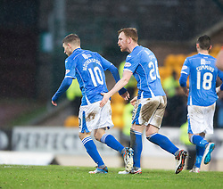 St Johnstone's David Wotherspoon (10) celebrates after scoring their second goal. <br /> St Johnstone 3 v 4Aberdeen, SPFL Ladbrokes Premiership played 6/2/2016 at McDiarmid Park, Perth.