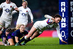 Kelly Smith of England Women scores a try - Mandatory by-line: Robbie Stephenson/JMP - 16/03/2019 - RUGBY - Twickenham Stadium - London, England - England Women v Scotland Women - Women's Six Nations