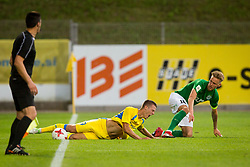 Lovro Bizjak of NK Domzale and Brent Lepistu of Flora Tallinn during 1st leg match of 1st Round Qualifications for European League, on June 28, 2017 in Arena Petrol, Celje, Slovenia. Photo by Ziga Zupan / Sportida