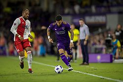 August 4, 2018 - Orlando, FL, U.S. - ORLANDO, FL - AUGUST 04: Orlando City forward Dom Dwyer (14) with the ball during the soccer match between the Orlando City Lions and the New England Revolution on August 4, 2018 at Orlando City Stadium in Orlando FL. (Photo by Joe Petro/Icon Sportswire) (Credit Image: © Joe Petro/Icon SMI via ZUMA Press)