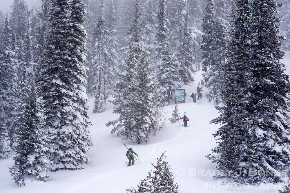 """Skiers ascend the bootpack up Mt. Glory on Tuesday morning on the north side of Teton Pass. The Bridger-Teton Avalanche Center rated the avalanch danger as """"High"""" for Tuesday in the mid and upper elevations of the Teton Area."""