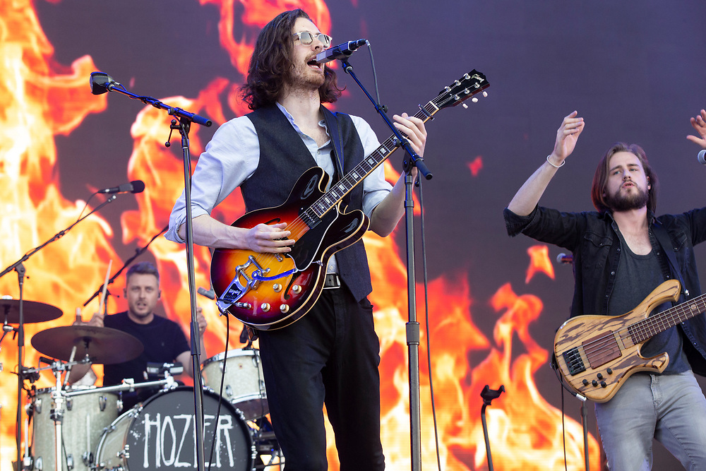 Hozier performing at Bonnaroo in Manchester, TN on June 15, 2019.