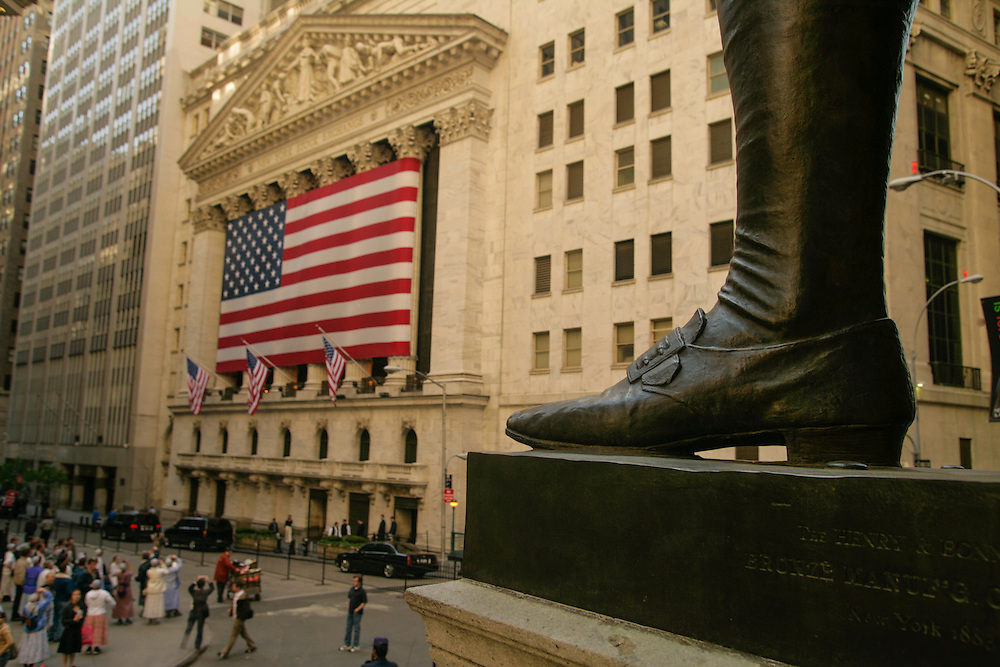 A view of New York Stock Exchange in Wall Street with George Washington's statue foot.