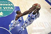 DESCRIZIONE : Campionato 2014/15 Dinamo Banco di Sardegna Sassari - Giorgio Tesi Group Pistoia<br /> GIOCATORE : Shane Lawal Rakim Sanders<br /> CATEGORIA : Rimbalzo Special<br /> SQUADRA : Dinamo Banco di Sardegna Sassari<br /> EVENTO : LegaBasket Serie A Beko 2014/2015<br /> GARA : Dinamo Banco di Sardegna Sassari - Giorgio Tesi Group Pistoia<br /> DATA : 01/02/2015<br /> SPORT : Pallacanestro <br /> AUTORE : Agenzia Ciamillo-Castoria / Luigi Canu<br /> Galleria : LegaBasket Serie A Beko 2014/2015<br /> Fotonotizia : Campionato 2014/15 Dinamo Banco di Sardegna Sassari - Giorgio Tesi Group Pistoia<br /> Predefinita :