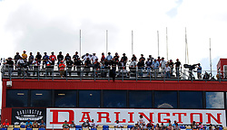 September 1, 2018 - Darlington, SC, U.S. - DARLINGTON, SC - SEPTEMBER 01: Spotters line up on top of the grandstands during qualifying for the 69th annual Bojangles Southern 500 on Saturday September 1, 2018 at Darlington Raceway in Darlington South Carolina (Photo by Jeff Robinson/Icon Sportswire) (Credit Image: © Jeff Robinson/Icon SMI via ZUMA Press)