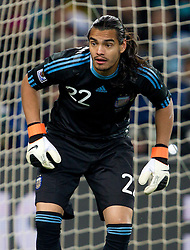Goalkeeper of Argentina Sergio Romero during the 2010 FIFA World Cup South Africa Round of Sixteen match between Argentina and Mexico at Soccer City Stadium on June 27, 2010 in Johannesburg, South Africa. Argentina defeated Mexico 3-1 and qualified for quarterfinals. (Photo by Vid Ponikvar / Sportida)