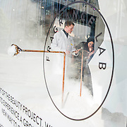 Selfridges opens a Fragrence Lab which puts people through a series of visual and smell tests (with the help of technicians) to find out about their character and the fragrance that most suits them. Much of it is in the windows of the store and the final fragrance is revealed via 'horns' in a corner window of the store. Fragrences are then issued via the express check out. Selfridges, Oxford Street, London, UK