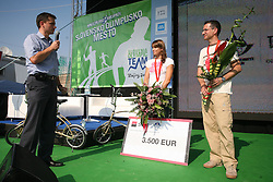 Simon Furlan of Telekom Slovenije and Swimmer Sara Isakovic with silver olympic medal and Shooter Rajmond Debevec with bronze medal at welcome ceremony in Olympic City BTC, on August 20, 2008, in Alea Mladih, BTC, Ljubljana, Slovenia. (Photo by Vid Ponikvar / Sportal Images)./ Sportida)