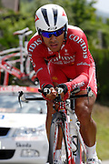 France, Talloire, 23 July 2009: Leonardo Duque (Col) Cofidis, Le Credit en Ligne on the Côte de Bluffy during Stage 18 - a 40.5 km Annecy to Annecy individual time trial. Photo by Peter Horrell / http://peterhorrell.com .