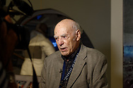 Garden City, New York, U.S.  June 6, 2019. SAMUEL KOEPPEL, who was Grumman's Technical Editor when Grumman Aircraft Engineering Corp. won the NASA contract to design and build the Lunar Excusion Module for the Apollo Program, is interviewed during Astronauts Press Conference for Apollo at 50 at Cradle of Aviation Museum, where he is a docent.