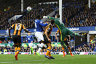 Hull City Goalkeeper Eldin Jakupovic punches the ball clear. Premier league match, Everton v Hull city at Goodison Park in Liverpool, Merseyside on Saturday 18th March 2017.<br /> pic by Chris Stading, Andrew Orchard sports photography.