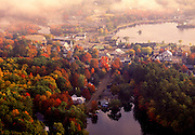 Aerial image of Meredith, New Hamsphire and Lake Winnipesaukee in the fall, America Northeast by Randy Wells