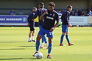 AFC Wimbledon midfielder Tom Soares (19) warming up during the EFL Sky Bet League 1 match between AFC Wimbledon and Oxford United at the Cherry Red Records Stadium, Kingston, England on 29 September 2018.