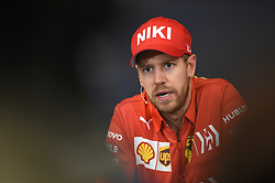 May 26, 2019 - Montecarlo, Monaco - German four time World Champions Sebastian Vettel of Italian team Scuderia Ferrari Mission Winnow speak in press conference during the 90th edition of the Monaco GP, 6th stage of the Formula 1 world championship, in Monaco-Ville, Monaco  (Credit Image: © Andrea Diodato/NurPhoto via ZUMA Press)