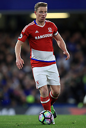 """Middlesbrough's Grant Leadbitter during the Premier League match at Stamford Bridge, London. PRESS ASSOCIATION Photo. Picture date: Monday May 8, 2017. See PA story SOCCER Chelsea. Photo credit should read: Mike Egerton/PA Wire. RESTRICTIONS: EDITORIAL USE ONLY No use with unauthorised audio, video, data, fixture lists, club/league logos or """"live"""" services. Online in-match use limited to 75 images, no video emulation. No use in betting, games or single club/league/player publications."""