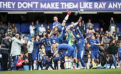 Chelsea's Gary Cahill is thrown in the air during the Chelsea's Lap of Appreciation during the Premier League match at Stamford Bridge, London.