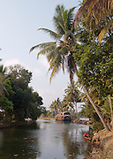 A houseboat moored in the Kerala Backwaters, near Alappuzha, India