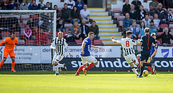 Dunfermline's Shaun Byrne (8) scoring their second goal. <br /> Dunfermline 5 v 1 Cowdenbeath, Scottish League Cup game played today at East End Park.