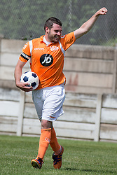 © Licensed to London News Pictures . 02/08/2015 . Droylsden Football Club , Manchester , UK . Actor DANNY MILLER scores . Celebrity football match in aid of Once Upon a Smile and Debra , featuring teams of soap stars . Photo credit : Joel Goodman/LNP