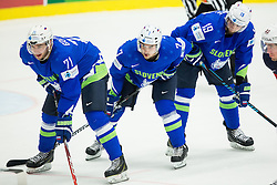 Bostjan Golicic of Slovenia, Klemen Pretnar of Slovenia and Ziga Pance of Slovenia during Ice Hockey match between Slovenia and USA at Day 10 in Group B of 2015 IIHF World Championship, on May 10, 2015 in CEZ Arena, Ostrava, Czech Republic. Photo by Vid Ponikvar / Sportida