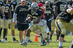 July 28, 2018 - Metairie, LA, U.S. - METAIRIE, LA. - JULY 28:  New Orleans Saints running back Mark Ingram II (22) runs through a drill during New Orleans Saints training camp practice on July 28, 2018 at the Ochsner Sports Performance Center in New Orleans, LA.  (Photo by Stephen Lew/Icon Sportswire) (Credit Image: © Stephen Lew/Icon SMI via ZUMA Press)