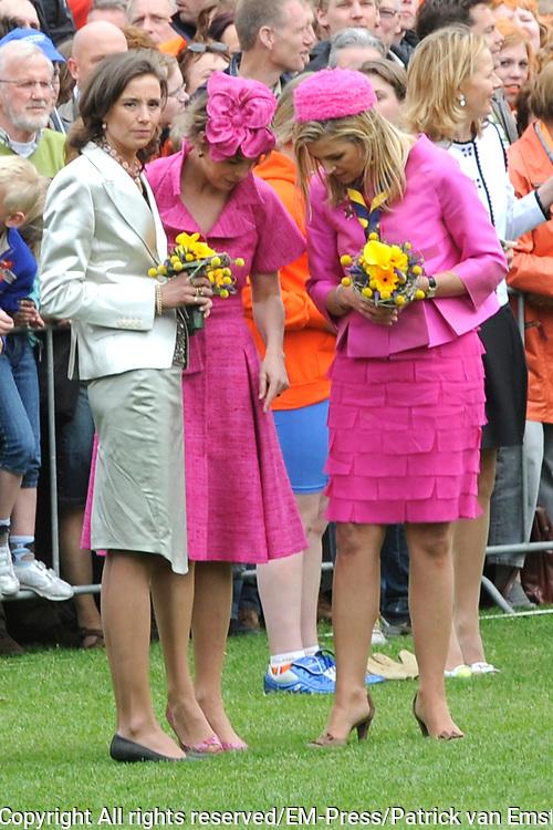 Koninginnedag 2008 / Queensday 2008. <br /> <br /> Koningin Beatrix viert Koninginnedag dit jaar in Friesland. De vorstin en haar familie bezochten op 30 april Makkum en Franeker.<br /> <br /> Queen Beatrix celebrates Queensday this year in Friesland (the Nothren provice in Holland). The Queen and its family visited Makkum and Franeker on 30 April.<br /> <br /> Op de foto/ On the Photo:<br /> <br /> Princes Marilene , Princes Laurentien and Princes Maxima