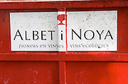 Label on a container. Albet i Noya. Penedes Catalonia Spain