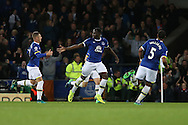 Romelu Lukaku of Everton (c) celebrates with his teammates after scoring his teams 1st goal. Premier league match, Everton v Crystal Palace at Goodison Park in Liverpool, Merseyside on Friday 30th September 2016.<br /> pic by Chris Stading, Andrew Orchard sports photography.