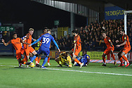 AFC Wimbledon striker Joe Pigott (39) with a shot from in the box during the EFL Sky Bet League 1 match between AFC Wimbledon and Southend United at the Cherry Red Records Stadium, Kingston, England on 24 November 2018.