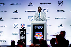 January 11, 2019 - Chicago, IL, U.S. - CHICAGO, IL - JANUARY 11: Roy Boateng is selected as the number sixteen overall pick to the New York Red Bulls in the first round of the MLS SuperDraft on January 11, 2019, at McCormick Place in Chicago, IL. (Photo by Patrick Gorski/Icon Sportswire) (Credit Image: © Patrick Gorski/Icon SMI via ZUMA Press)