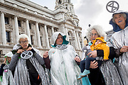 Elderly environmental activists protest about Climate Change during an occupation of Trafalgar Square in central London, the third day of a two-week prolonged worldwide protest by members of Extinction Rebellion, on 9th October 2019, in London, England.