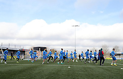 A general view of Sutton United players during a training session at Gander Green Lane, London.