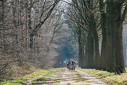 Peloton approach - Ronde van Drenthe 2016, a 138km road race starting and finishing in Hoogeveen, on March 12, 2016 in Drenthe, Netherlands.