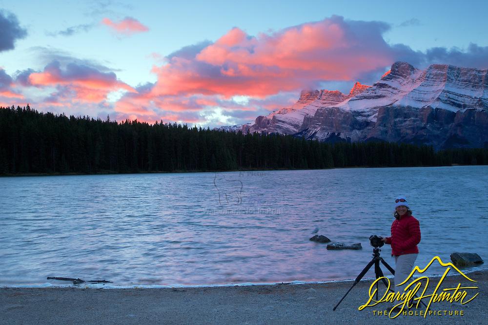 Photographer, Two Jack Lake, sunrise, Mt. Rendell,  Banff National Park