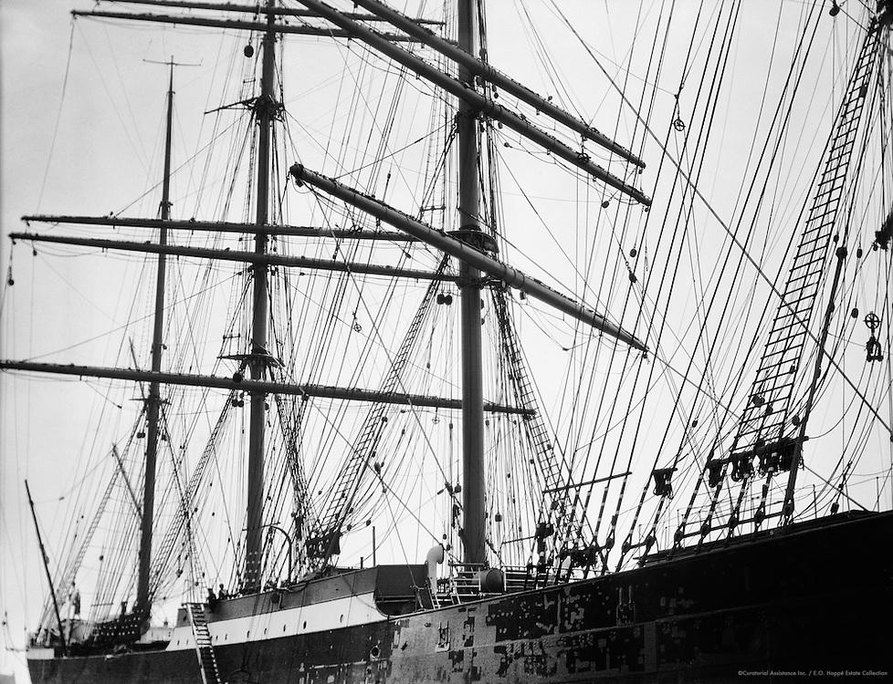 Sailing Ship Docked in Hamburg Harbour, 1925