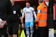 Dannie Bulman leads the team out for the EFL Sky Bet League 2 match between Walsall and Crawley Town at the Banks's Stadium, Walsall, England on 18 January 2020.