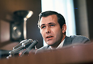 Donald Rumsfeld testifies before a Senate Hearing in July 1969 as the Director of the Office of Economic Opportunity.  Photo by Dennis Brack bb72