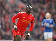 Sadio Mane of Liverpool celebrates his goal during the English Premier League match at Anfield Stadium, Liverpool. Picture date: April 1st 2017. Pic credit should read: Simon Bellis/Sportimage