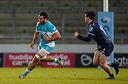 Sale Sharks flanker Tom Curry chases Warriors No.8 Marco Mama during the Gallagher Premiership match Sale Sharks -V- Worcester Warriors at The AJ Bell Stadium, Greater Manchester,England United Kingdom, Friday, January 08, 2021. (Steve Flynn/Image of Sport)