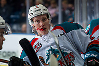 KELOWNA, CANADA - JANUARY 25:  Lassi Thomson #2 of the Kelowna Rockets stands on the bench during a time out against the Victoria Royals on January 25, 2019 at Prospera Place in Kelowna, British Columbia, Canada.  (Photo by Marissa Baecker/Shoot the Breeze)